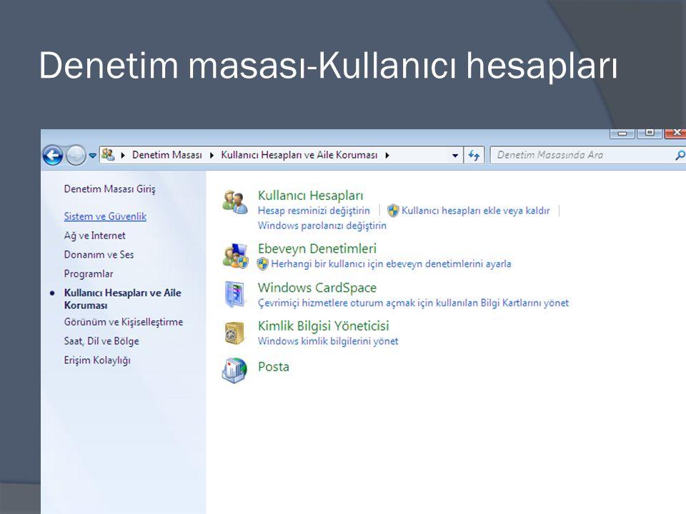 Denetim masası-Kullanıcı hesapları