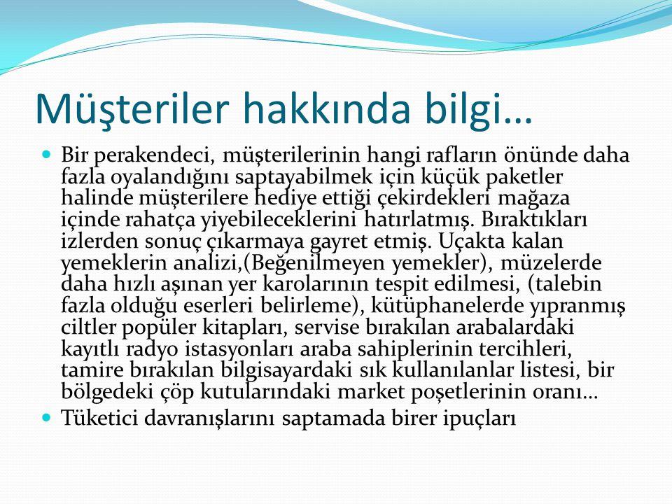Müşteriler hakkında bilgi…