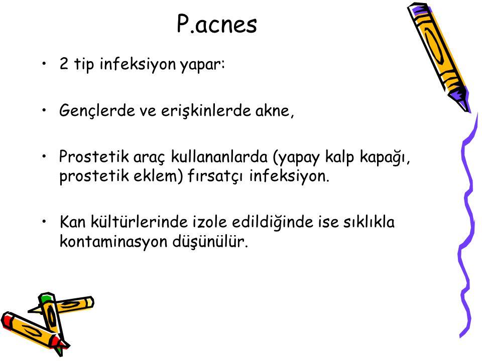 P.acnes 2 tip infeksiyon yapar: Gençlerde ve erişkinlerde akne,
