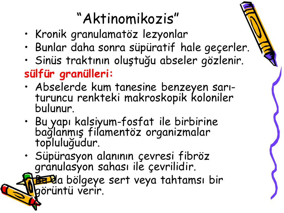 Aktinomikozis Kronik granulamatöz lezyonlar