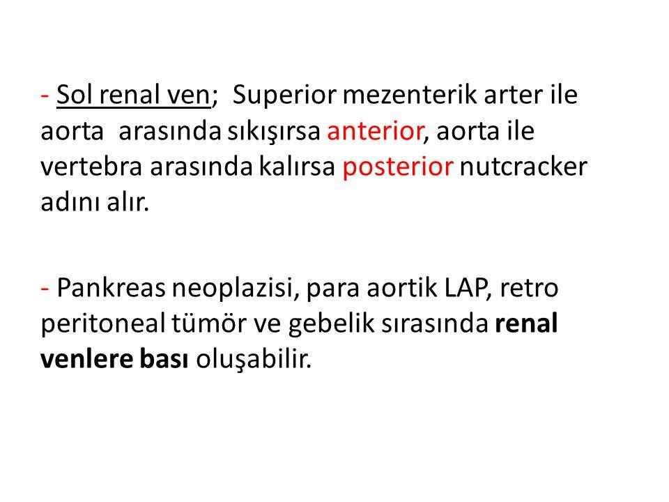 - Sol renal ven; Superior mezenterik arter ile aorta arasında sıkışırsa anterior, aorta ile vertebra arasında kalırsa posterior nutcracker adını alır.