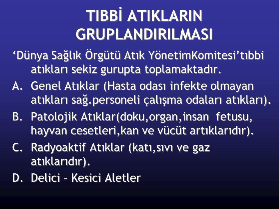 TIBBİ ATIKLARIN GRUPLANDIRILMASI