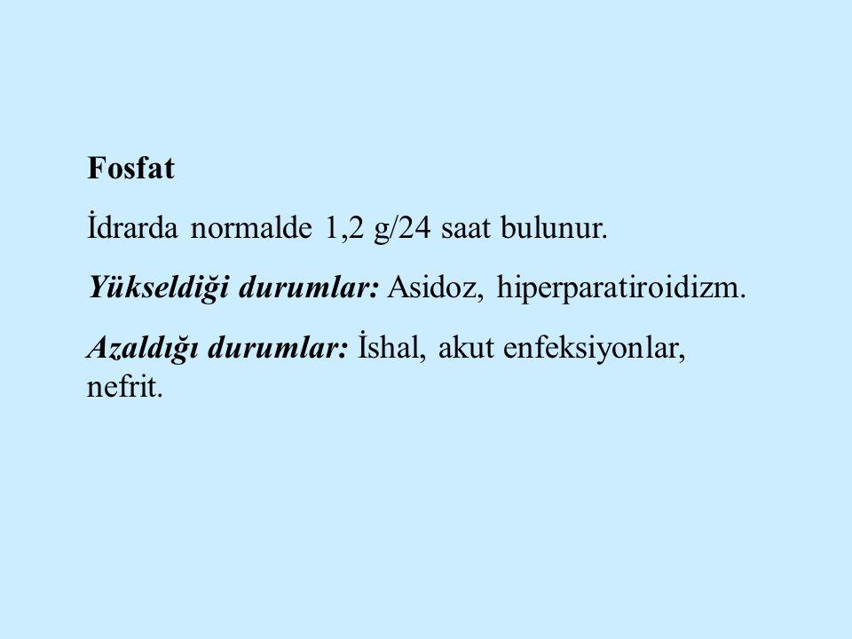 Fosfat İdrarda normalde 1,2 g/24 saat bulunur. Yükseldiği durumlar: Asidoz, hiperparatiroidizm.