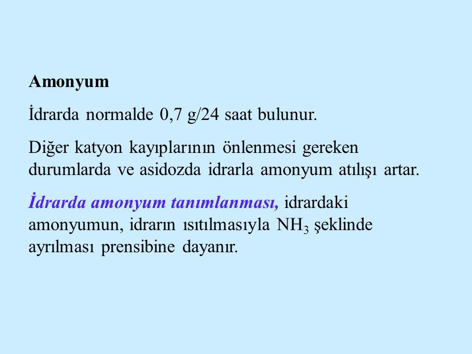 Amonyum İdrarda normalde 0,7 g/24 saat bulunur. Diğer katyon kayıplarının önlenmesi gereken durumlarda ve asidozda idrarla amonyum atılışı artar.