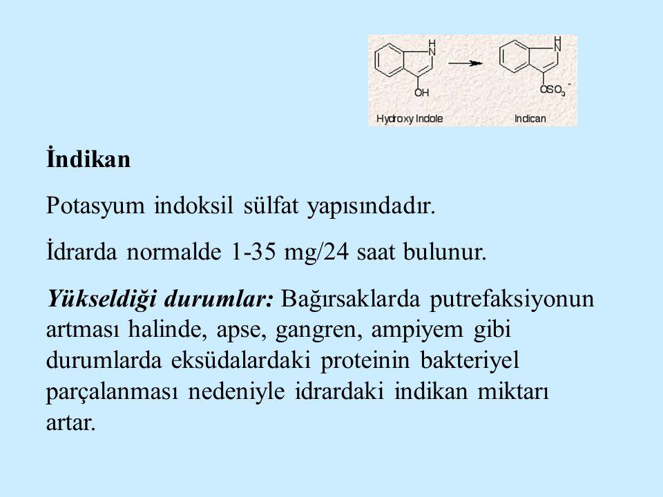 İndikan Potasyum indoksil sülfat yapısındadır. İdrarda normalde 1-35 mg/24 saat bulunur.