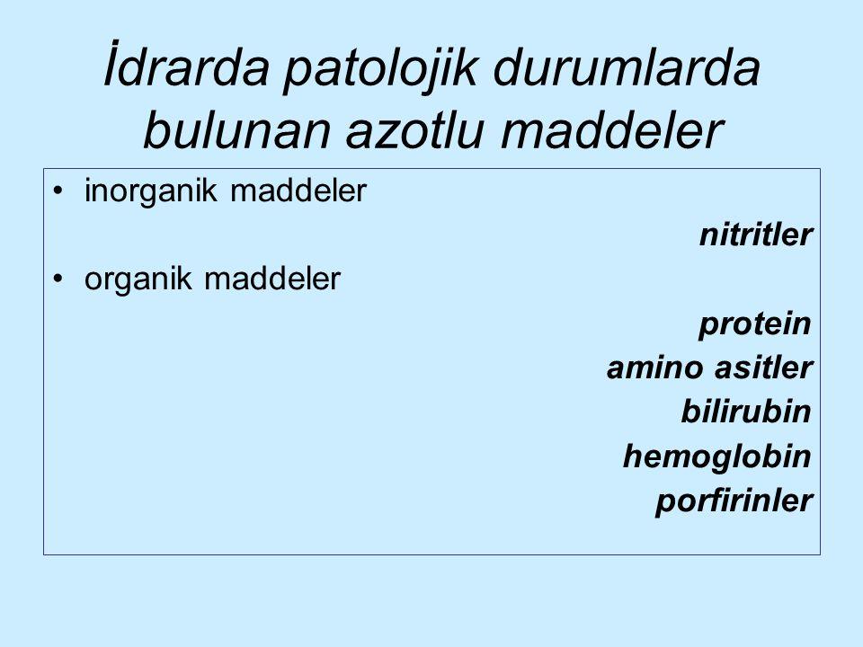 İdrarda patolojik durumlarda bulunan azotlu maddeler