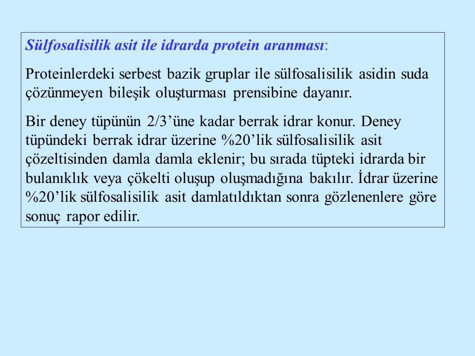 Sülfosalisilik asit ile idrarda protein aranması: