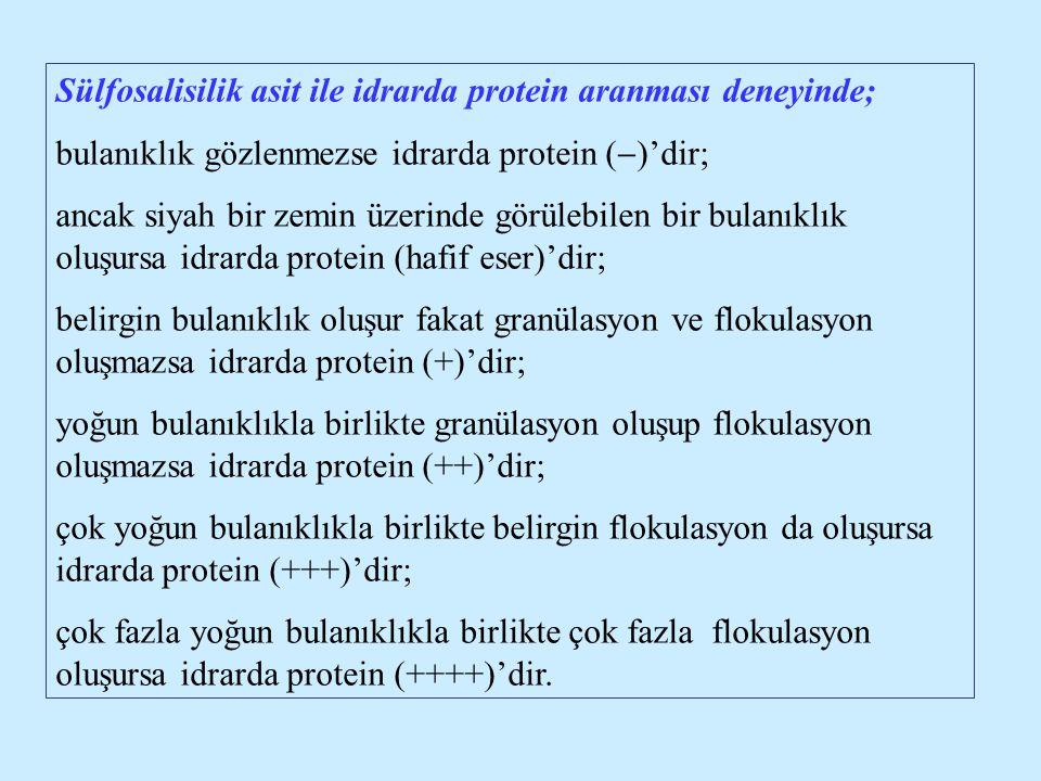 Sülfosalisilik asit ile idrarda protein aranması deneyinde;