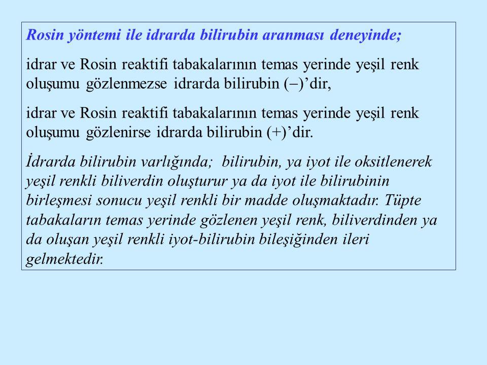 Rosin yöntemi ile idrarda bilirubin aranması deneyinde;