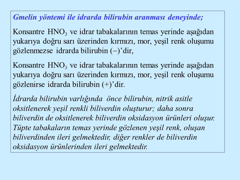 Gmelin yöntemi ile idrarda bilirubin aranması deneyinde;
