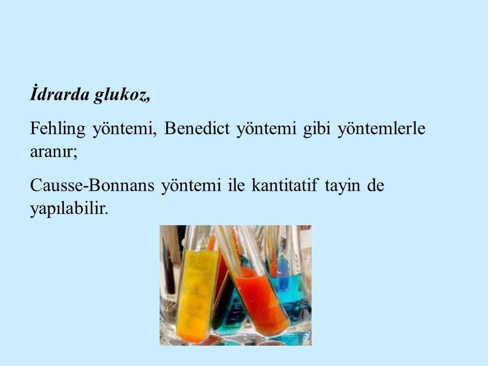 İdrarda glukoz, Fehling yöntemi, Benedict yöntemi gibi yöntemlerle aranır; Causse-Bonnans yöntemi ile kantitatif tayin de yapılabilir.