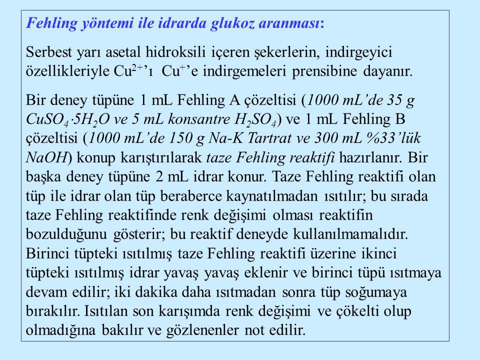 Fehling yöntemi ile idrarda glukoz aranması: