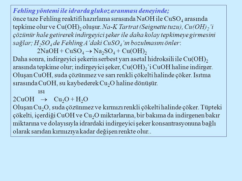 Fehling yöntemi ile idrarda glukoz aranması deneyinde;