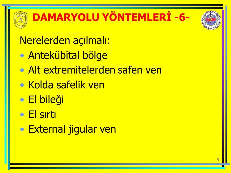 DAMARYOLU YÖNTEMLERİ -6-