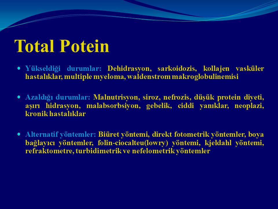 Total Potein Yükseldiği durumlar: Dehidrasyon, sarkoidozis, kollajen vasküler hastalıklar, multiple myeloma, waldenstrom makroglobulinemisi.