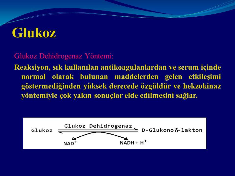 Glukoz Glukoz Dehidrogenaz Yöntemi:
