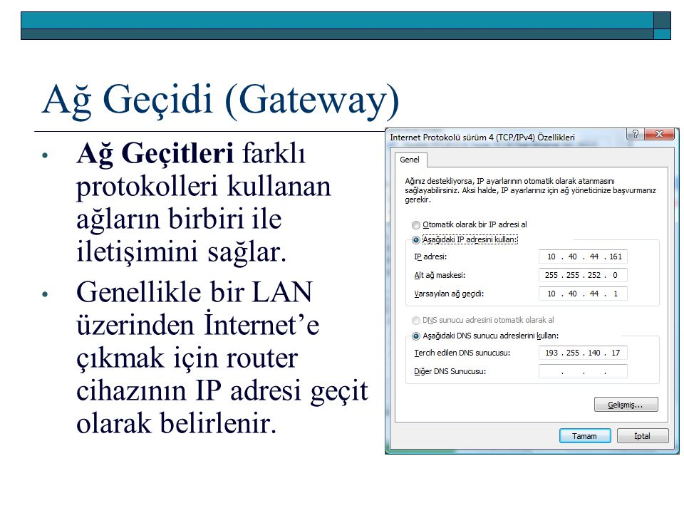 Ağ Geçidi (Gateway) Ağ Geçitleri farklı protokolleri kullanan ağların birbiri ile iletişimini sağlar.