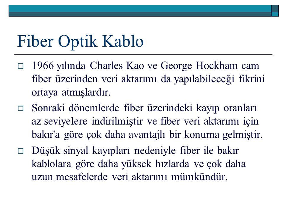 Fiber Optik Kablo 1966 yılında Charles Kao ve George Hockham cam fiber üzerinden veri aktarımı da yapılabileceği fikrini ortaya atmışlardır.