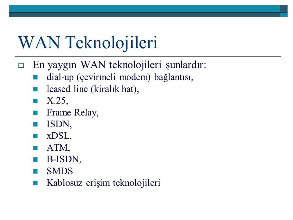 WAN Teknolojileri En yaygın WAN teknolojileri şunlardır: