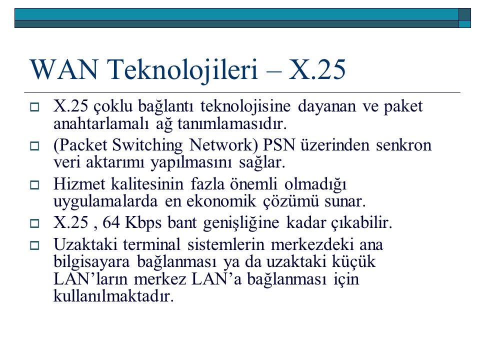 WAN Teknolojileri – X.25 X.25 çoklu bağlantı teknolojisine dayanan ve paket anahtarlamalı ağ tanımlamasıdır.