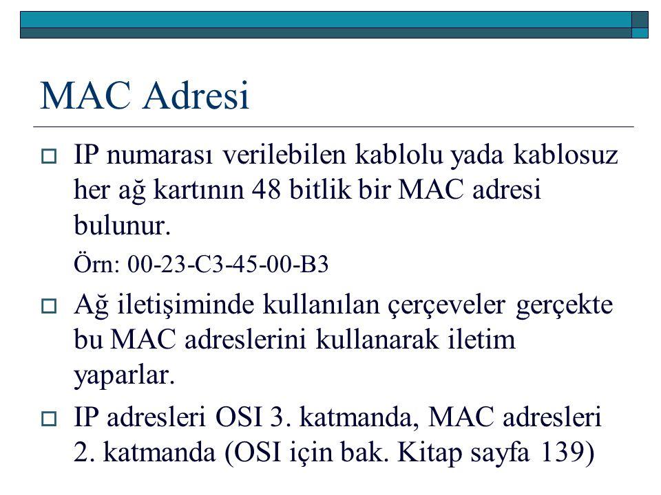 MAC Adresi IP numarası verilebilen kablolu yada kablosuz her ağ kartının 48 bitlik bir MAC adresi bulunur.
