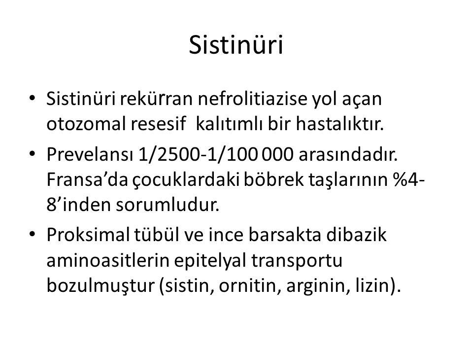 Sistinüri Sistinüri rekürran nefrolitiazise yol açan otozomal resesif kalıtımlı bir hastalıktır.