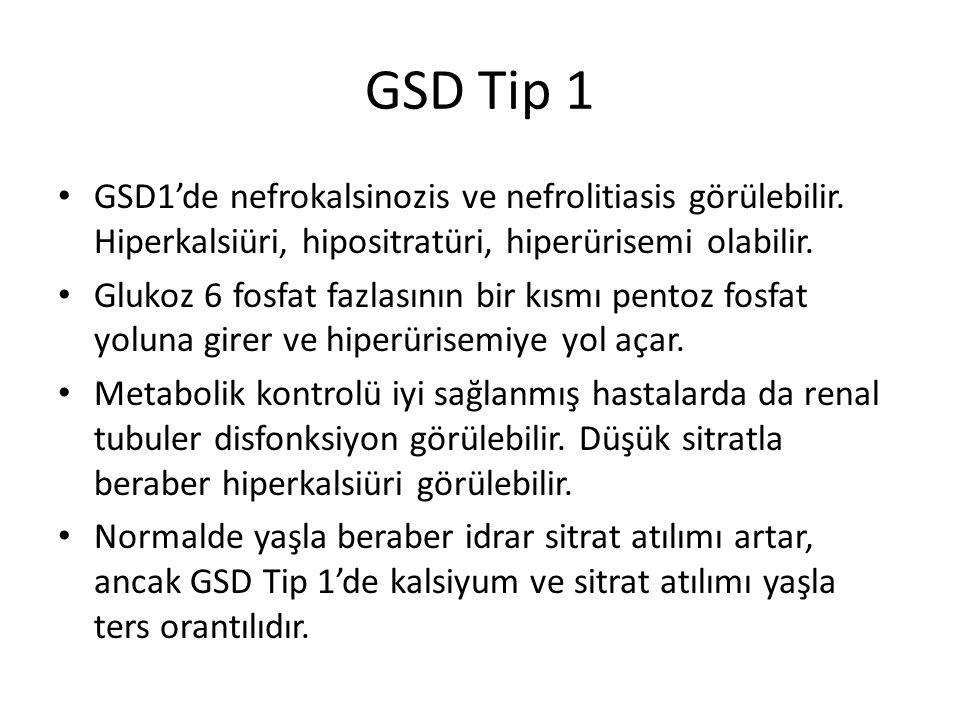GSD Tip 1 GSD1'de nefrokalsinozis ve nefrolitiasis görülebilir. Hiperkalsiüri, hipositratüri, hiperürisemi olabilir.