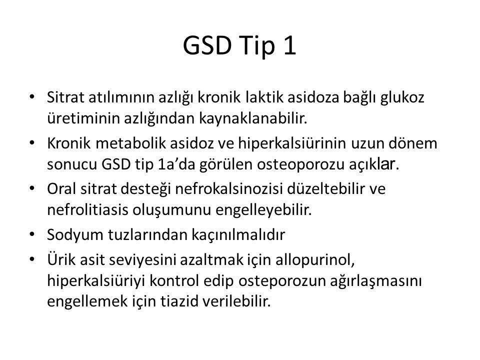 GSD Tip 1 Sitrat atılımının azlığı kronik laktik asidoza bağlı glukoz üretiminin azlığından kaynaklanabilir.