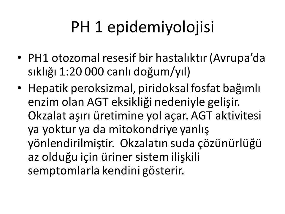 PH 1 epidemiyolojisi PH1 otozomal resesif bir hastalıktır (Avrupa'da sıklığı 1:20 000 canlı doğum/yıl)