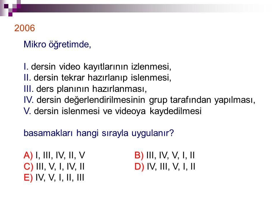 2006 Mikro öğretimde, I. dersin video kayıtlarının izlenmesi, II. dersin tekrar hazırlanıp islenmesi,