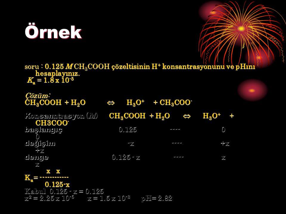 Örnek soru : 0.125 M CH3COOH çözeltisinin H+ konsantrasyonunu ve pHını hesaplayınız. Ka = 1.8 x 10-5.
