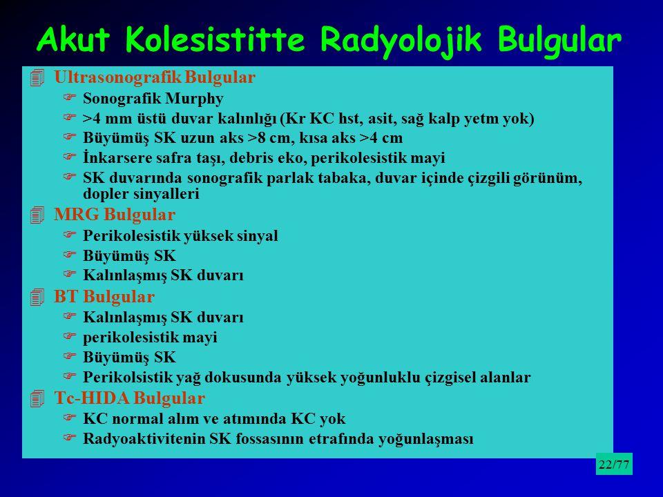 Akut Kolesistitte Radyolojik Bulgular