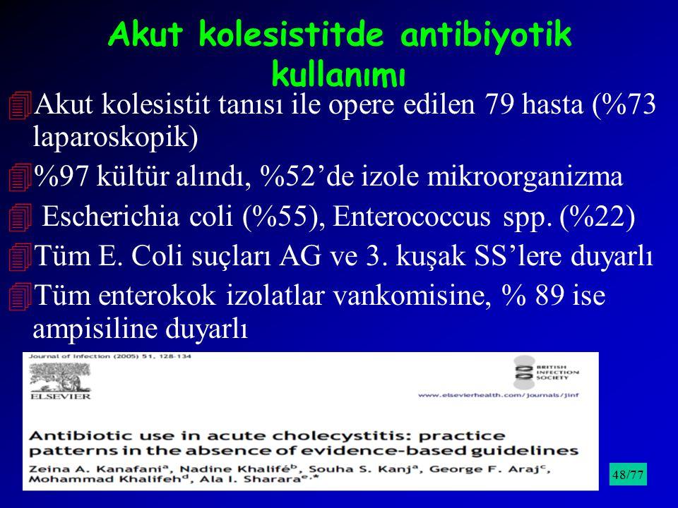 Akut kolesistitde antibiyotik kullanımı