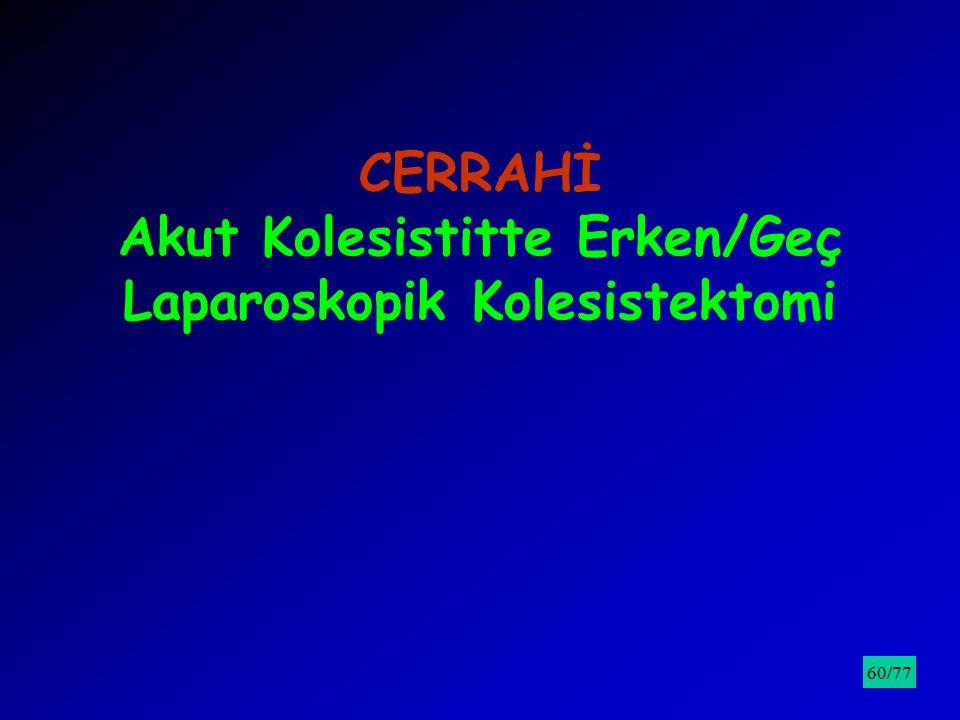 CERRAHİ Akut Kolesistitte Erken/Geç Laparoskopik Kolesistektomi