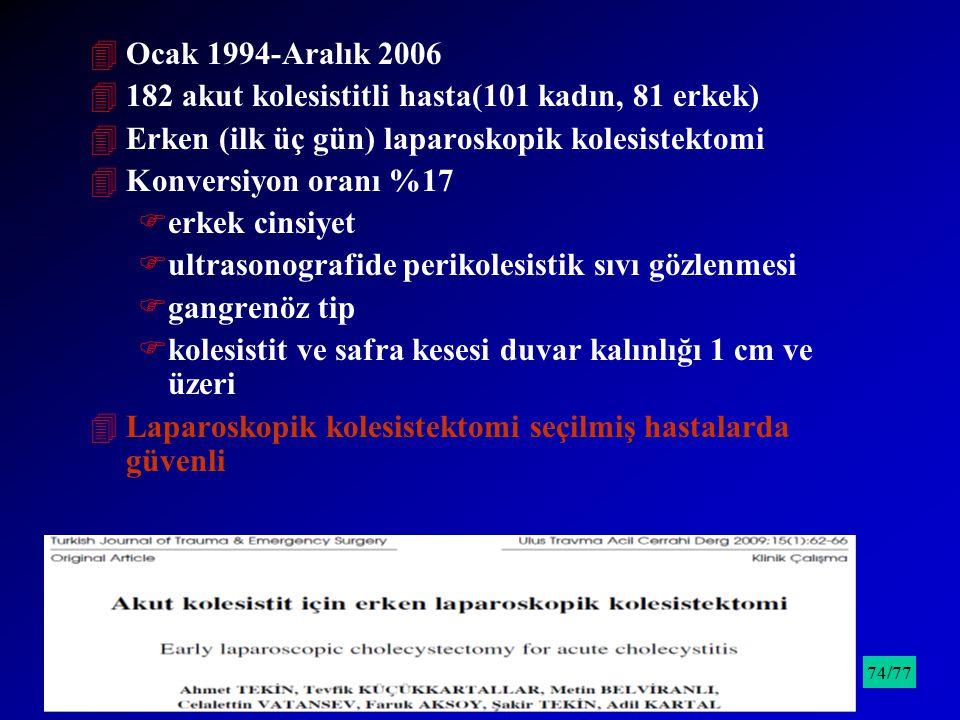 182 akut kolesistitli hasta(101 kadın, 81 erkek)