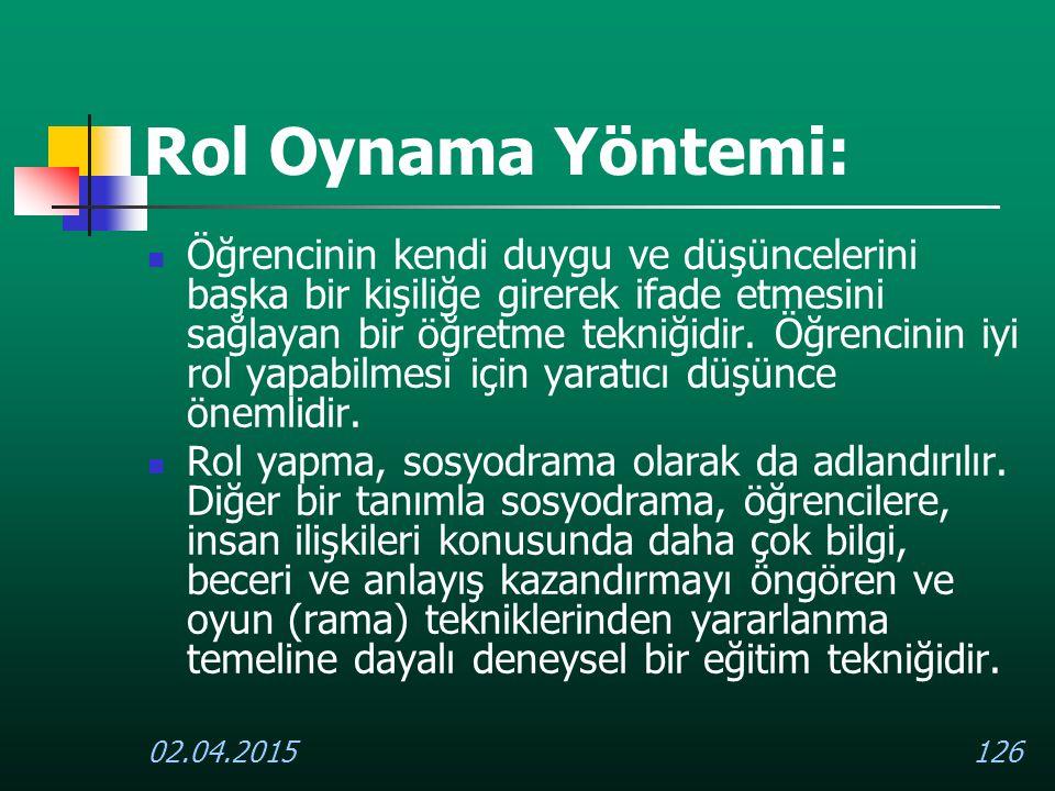 Rol Oynama Yöntemi:
