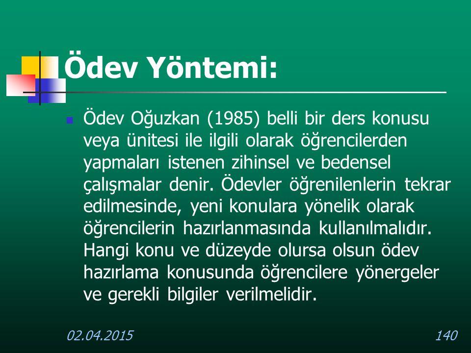 Ödev Yöntemi: