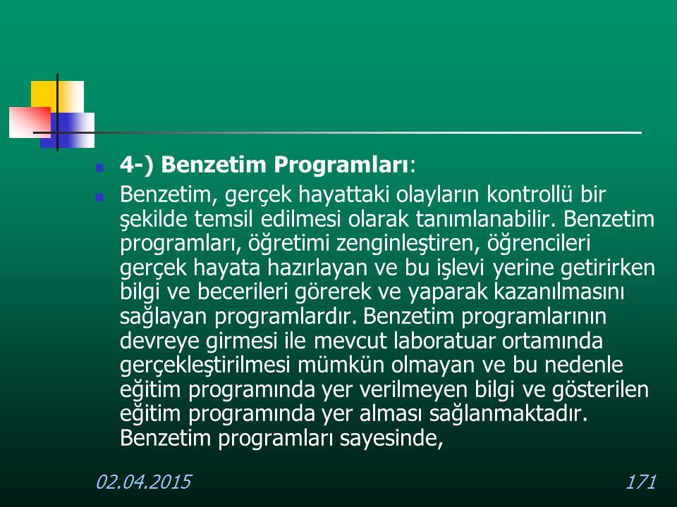 4-) Benzetim Programları: