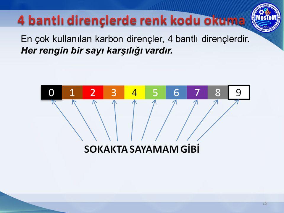 4 bantlı dirençlerde renk kodu okuma