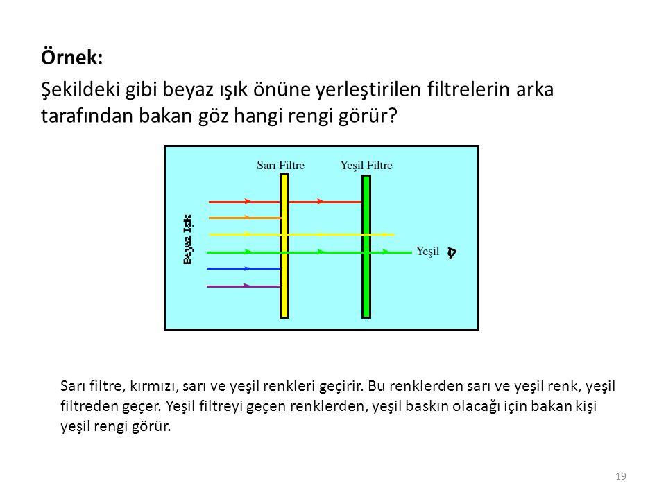 Örnek: Şekildeki gibi beyaz ışık önüne yerleştirilen filtrelerin arka tarafından bakan göz hangi rengi görür