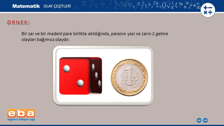OLAY ÇEŞİTLERİ ÖRNEK: Bir zar ve bir madenî para birlikte atıldığında, paranın yazı ve zarın 2 gelme.