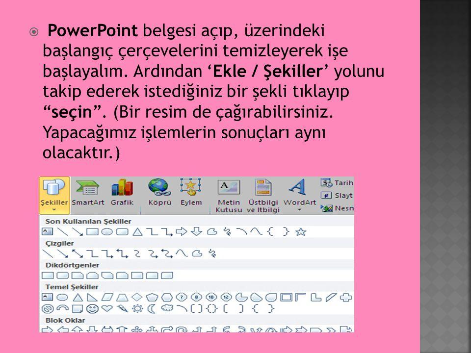 PowerPoint belgesi açıp, üzerindeki başlangıç çerçevelerini temizleyerek işe başlayalım.