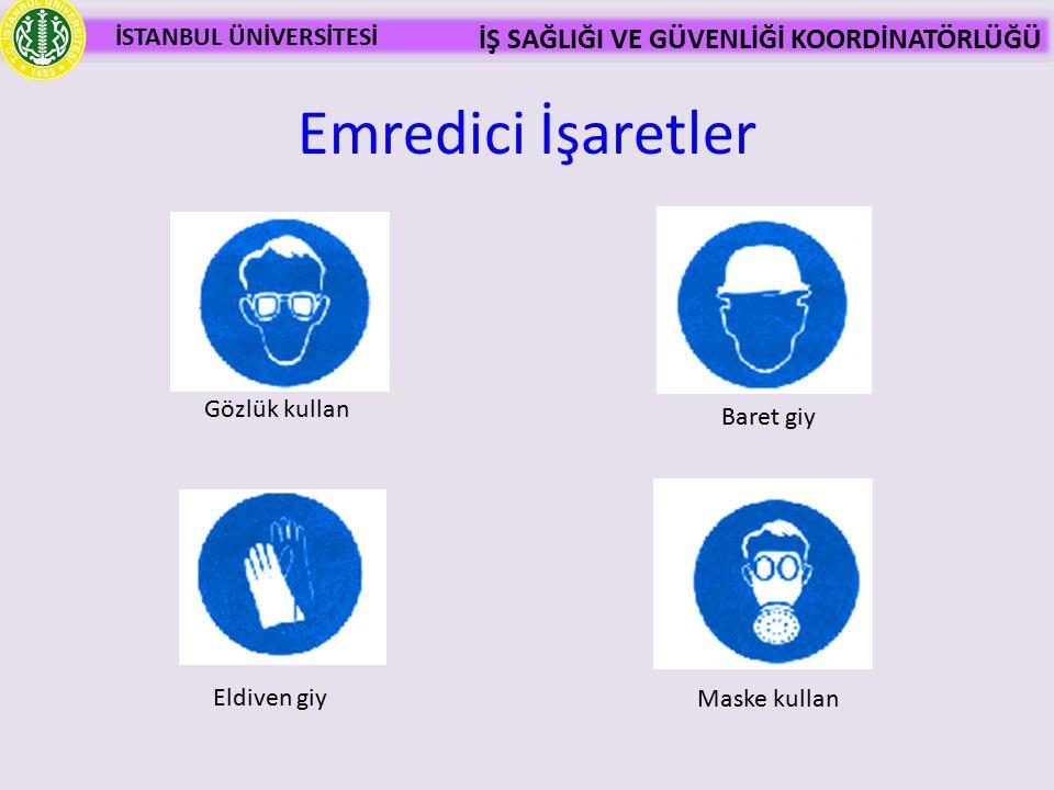 Emredici İşaretler Gözlük kullan Baret giy Eldiven giy Maske kullan