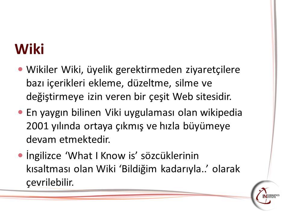 Wiki Wikiler Wiki, üyelik gerektirmeden ziyaretçilere bazı içerikleri ekleme, düzeltme, silme ve değiştirmeye izin veren bir çeşit Web sitesidir.