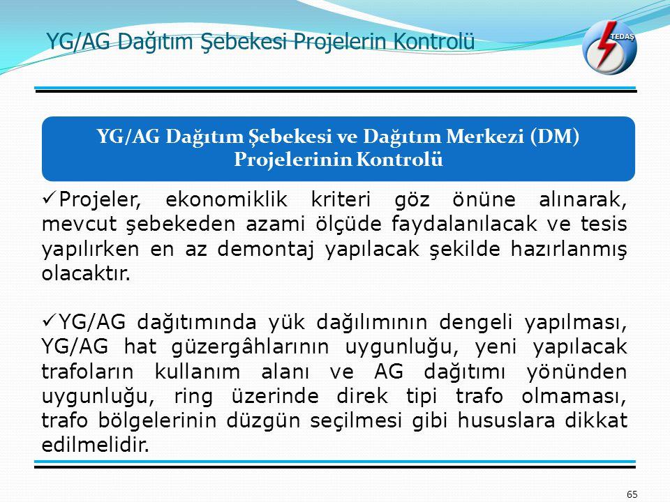 YG/AG Dağıtım Şebekesi ve Dağıtım Merkezi (DM) Projelerinin Kontrolü