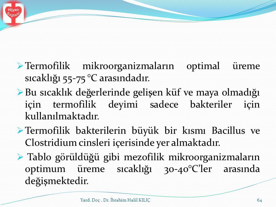 Termofilik mikroorganizmaların optimal üreme sıcaklığı 55-75 °C arasındadır.