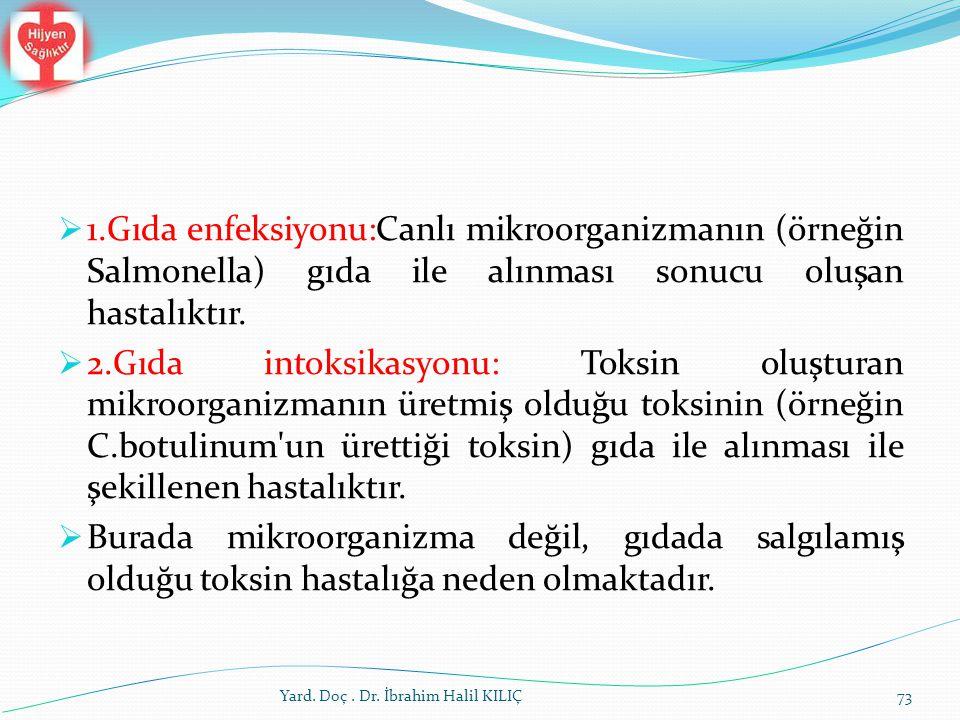 1.Gıda enfeksiyonu:Canlı mikroorganizmanın (örneğin Salmonella) gıda ile alınması sonucu oluşan hastalıktır.