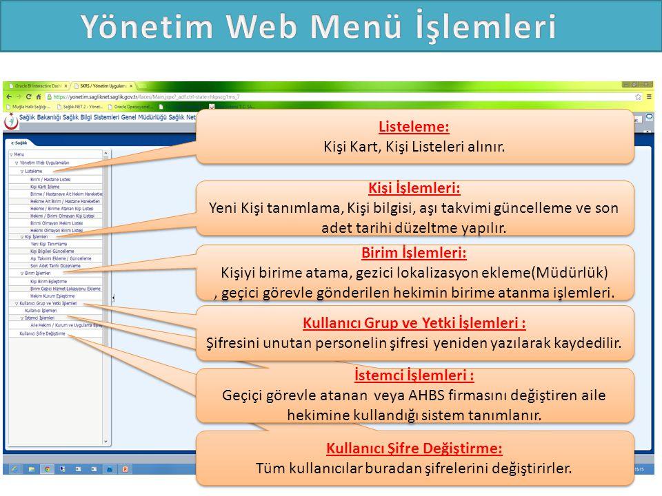 Yönetim Web Menü İşlemleri