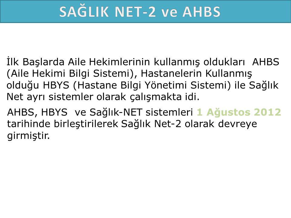 SAĞLIK NET-2 ve AHBS