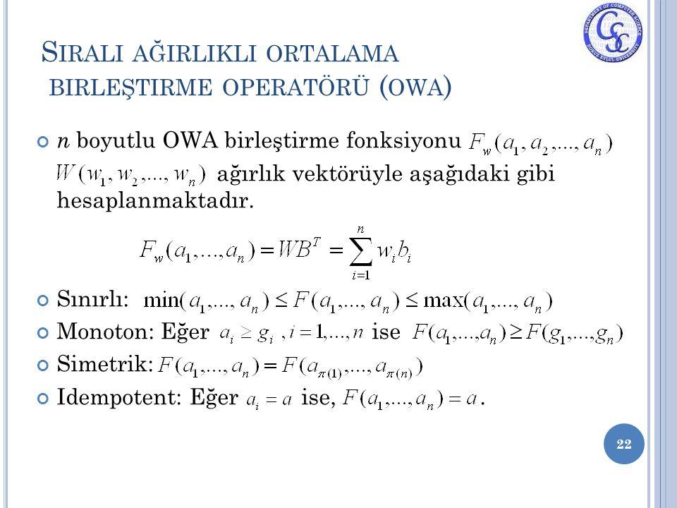 Sirali ağirlikli ortalama birleştirme operatörü (owa)